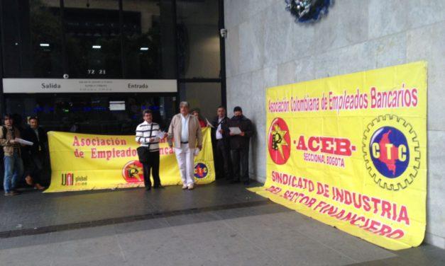 Jornada de protesta en BBVA Colombia, por despidos injustos y arbitrarios