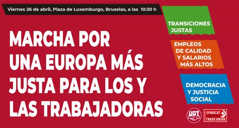 UGT participa en la Euromanifestación del 26 de abril