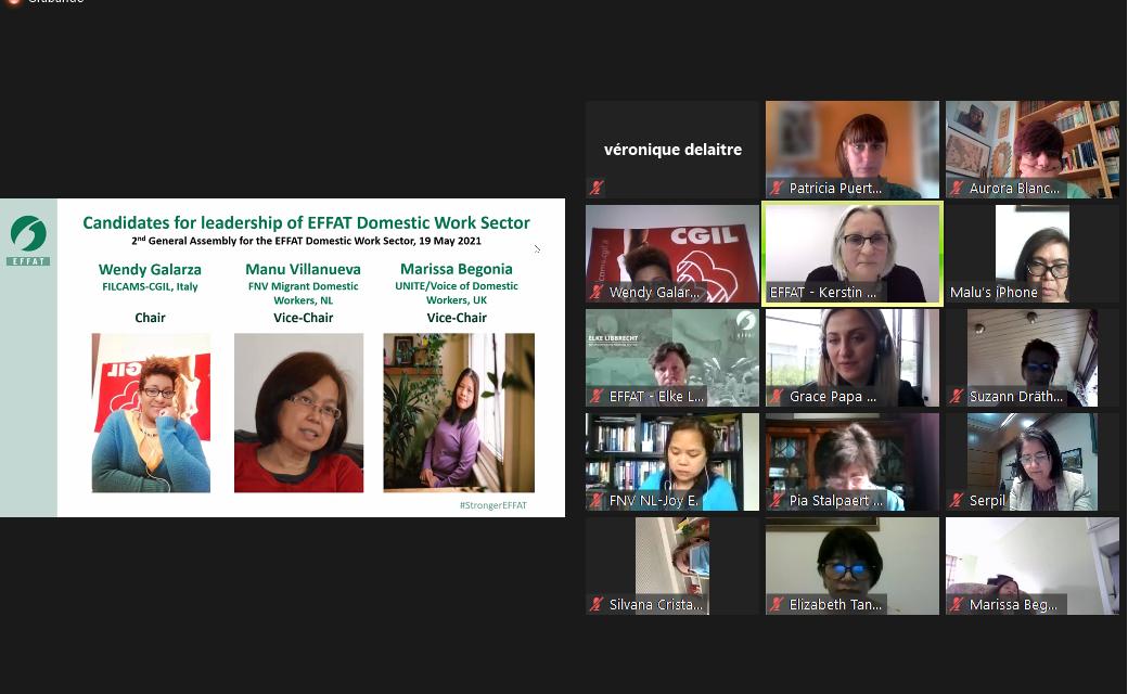 El sector de las empleadas de hogar – trabajo doméstico de la Internacional EFFAT elige a su dirección